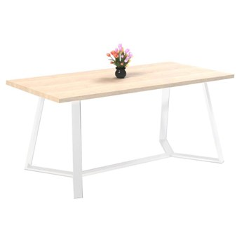 Stół TEO I na wymiar drewno lite stelaż metalowy biały