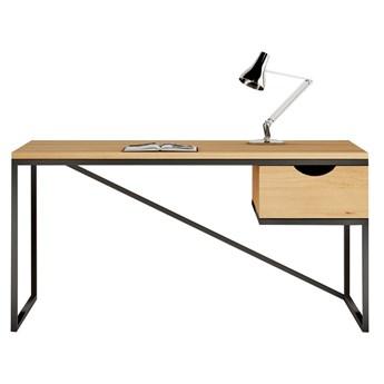 Biurko ANTOINE na wymiar drewno lite stelaż metalowy czarny