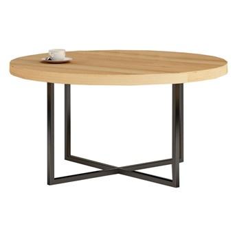Stolik kawowy okrągły TOMMY na wymiar drewno lite stelaż metalowy czarny