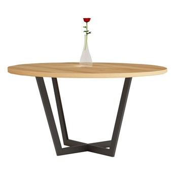 Stół okrągły TOM V na wymiar drewno lite stelaż metalowy czarny