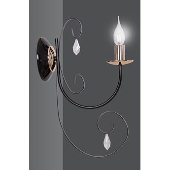 FOREMAN K1 BLACK 272/K1 piękny klasyczny kinkiet kryształki czarny miedziane elementy