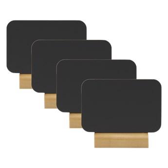Zestaw 4 etykiet kredowych z drewnianą podstawką