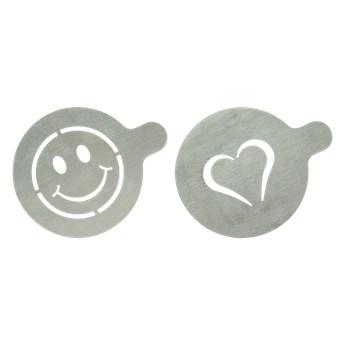 Dwa szablony, wzorniki do kawy (uśmiech, serce)