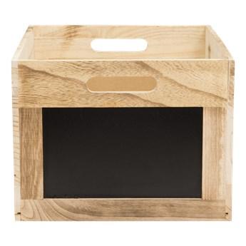 Drewniana skrzynka, kosdo przechowywania z tabliczką kredową 21x35x28,3cm