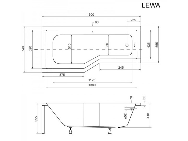 Besco Integra wanna asymetryczna lewa 150x75 cm biała WAI-150-PL Akryl Asymetryczne Kolor Biały Kategoria Wanny