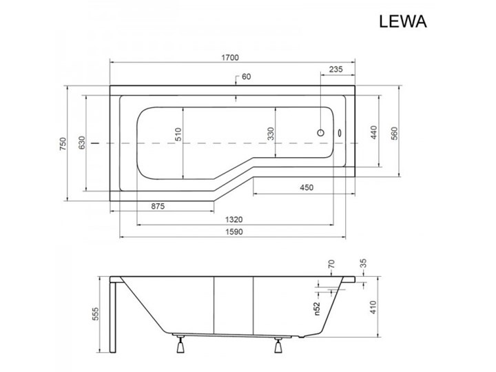 Besco Integra kabino-wanna 170x75 cm lewa z parawanem 3-skrzydłowym WAI-170-PL3 Akryl Kolor Biały Kategoria Wanny