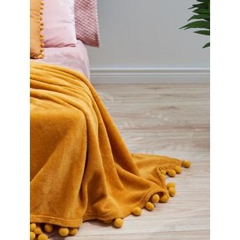 Sinsay - Koc z pomponami - Żółty