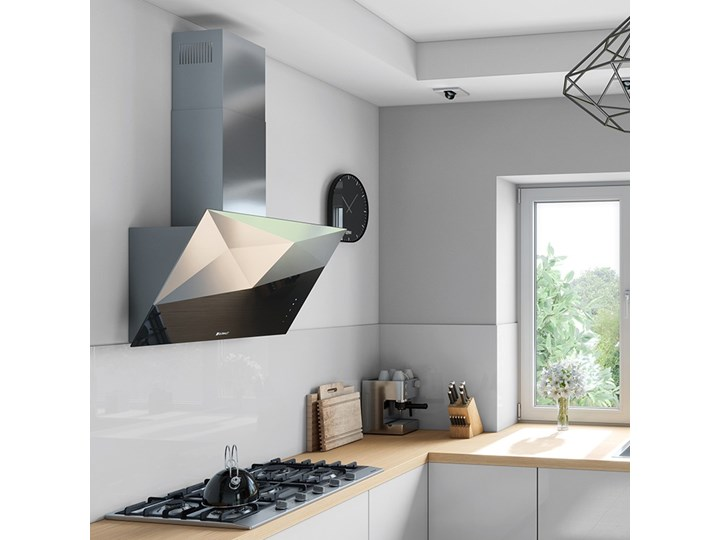Okap kuchenny Rendero 90.1 Black Okap przyścienny Poziom hałasu 51 dB Kategoria Okapy