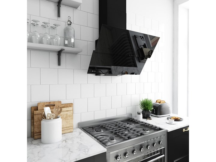 Okap kuchenny Womero 60.1 Black Okap przyścienny Kolor Czarny
