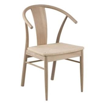 Drewniane krzesło do jadalni z siedziskiem z plecionki Rogers