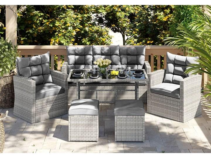 Meble ogrodowe technorattan - 1090 MOULD - dla 7 osób Zestawy wypoczynkowe Stoły z krzesłami Zawartość zestawu Puf Zawartość zestawu Stół