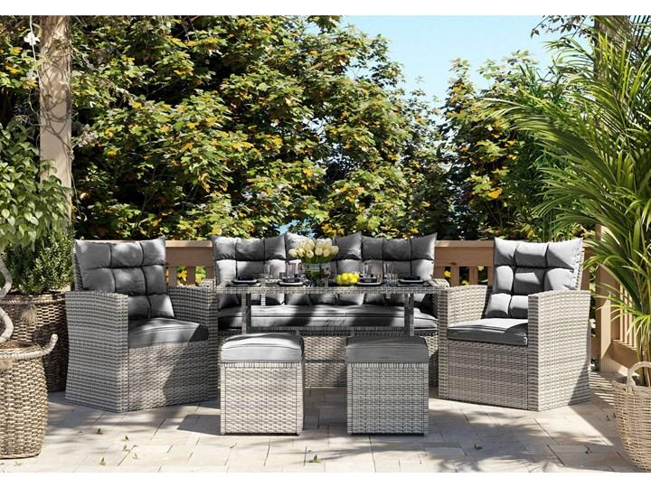 Meble ogrodowe technorattan - 1090 MOULD - dla 7 osób Stoły z krzesłami Kolor Szary Zestawy wypoczynkowe Kategoria Zestawy mebli ogrodowych