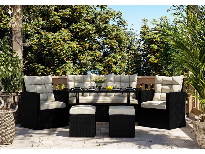Meble ogrodowe - 1090 CZARNE - zestaw z technorattanu dla 7 osób Zestawy wypoczynkowe Kolor Szary Kolor Czarny
