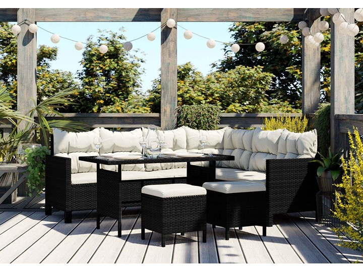 Meble ogrodowe - 1092 CZARNE - dla 9 osób Rattan Zestawy wypoczynkowe Drewno Zawartość zestawu Sofa Technorattan Kolor Szary