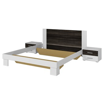 Łóżko 160x200 + stoliki nocne VERA VE51 biały / orzech czarny