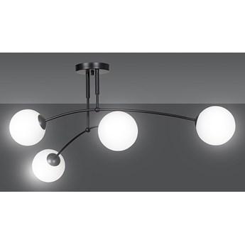 PREGOS 4 BLACK 670/4 oryginalna lampa sufitowa czarna LOFT szklane mleczne klosze
