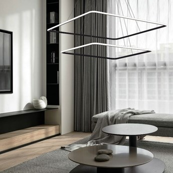 MCODO ::  Designerska lampa led QUADRATA 2 czarna  90W z barwą ciepłą 3000K