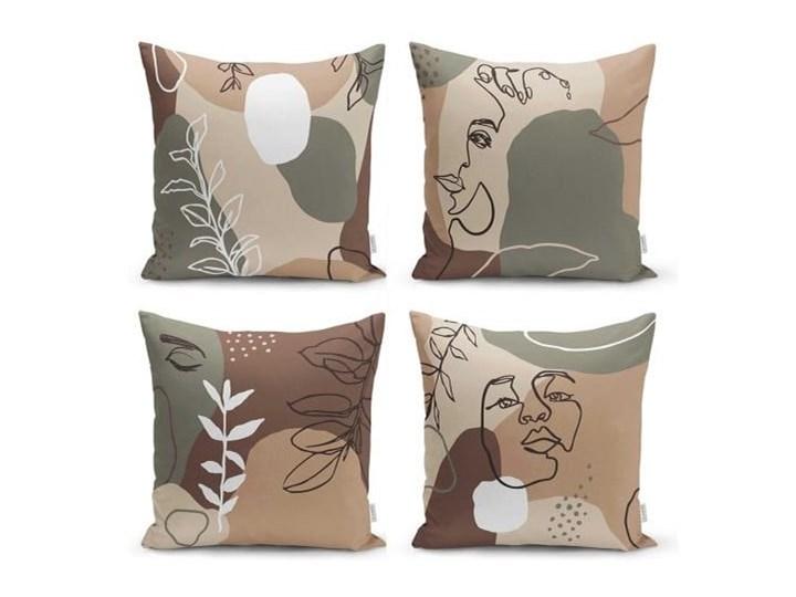 Zestaw 4 poszewek na poduszki Minimalist Cushion Covers Drawing Face, 45x45 cm Poszewka dekoracyjna Bawełna Poliester Pomieszczenie Salon