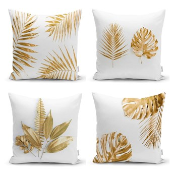 Zestaw 4 poszewek na poduszki Minimalist Cushion Covers Gold Leaves Modern, 45x45 cm
