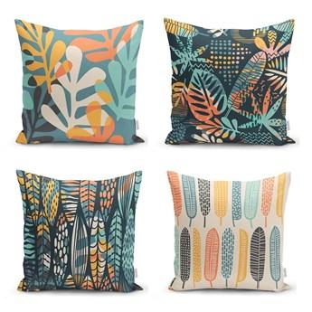 Zestaw 4 poszewek na poduszki Minimalist Cushion Covers Colorful Leaves, 45x45 cm