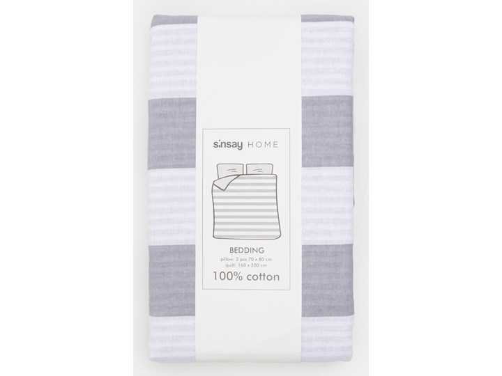 Sinsay - Komplet pościeli z bawełny 160x200 - Jasny szary 160x200 cm Bawełna Pomieszczenie Pościel do sypialni Kolor Biały