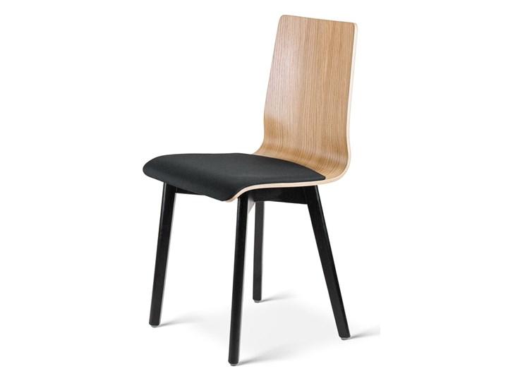 LUKA W PS krzesło dębowe, miękkie siedzisko czarna rama