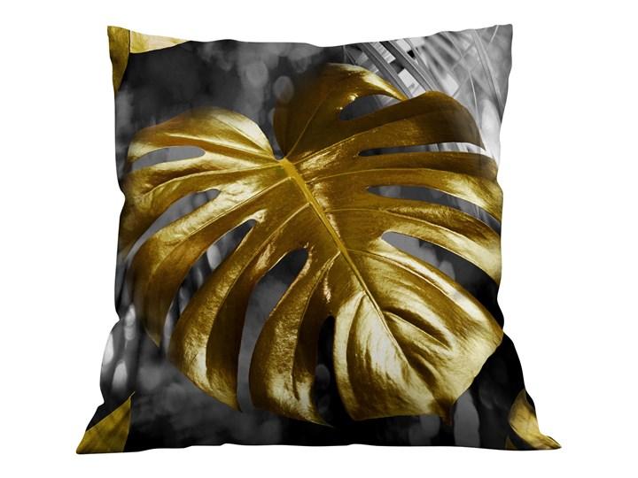 Poszewka dekoracyjna ZŁOTE LIŚCIE MONSTERA 3D CZARNE -Velvet Kolor Złoty Poliester Aksamit Kwadratowe 45x45 cm Kategoria Poduszki i poszewki dekoracyjne