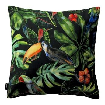 Poszewka Kinga na poduszkę, papugi i tukany na czarnym tle, 43 × 43 cm, Velvet