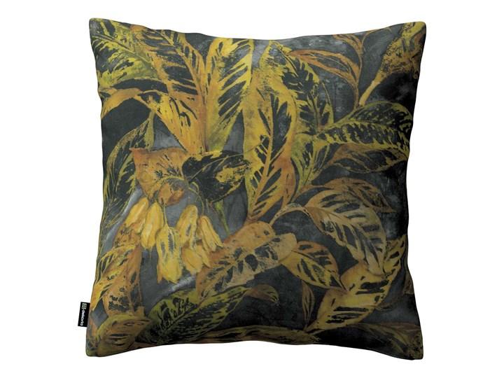 Poszewka Kinga na poduszkę, rdzawo-żółte liście na ciemnym tle, 43 × 43 cm, Abigail Kwadratowe 45x45 cm Bawełna 43x43 cm 60x60 cm 40x60 cm 45x65 cm 50x50 cm Poszewka dekoracyjna Kolor Szary Wzór Roślinny