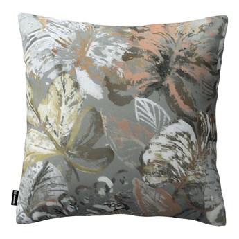Poszewka Kinga na poduszkę, brązowe, beżowe, morelowe kwiaty na szarym tle, 43 × 43 cm, Abigail