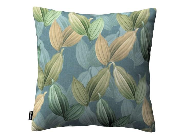 Poszewka Kinga na poduszkę, zielone, beżowe liście na niebiesko-zielonym tle, 43 × 43 cm, Abigail