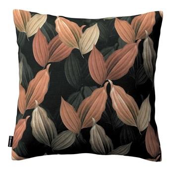 Poszewka Kinga na poduszkę, brzoskwiniowo-brązowe liście na czarnym tle, 43 × 43 cm, Abigail