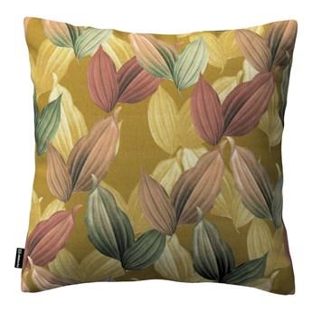 Poszewka Kinga na poduszkę, kolorowe liście na musztardowym tle, 43 × 43 cm, Abigail