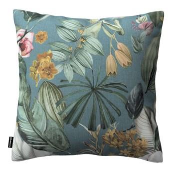 Poszewka Kinga na poduszkę, kwiaty na zielono-niebieskim tle, 43 × 43 cm, Abigail