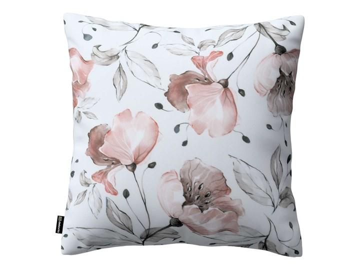 Poszewka Kinga na poduszkę, różowe kwiaty na kremowym tle, 43 × 43 cm, Velvet