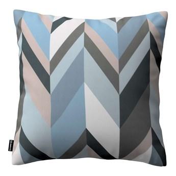 Poszewka Kinga na poduszkę, geometryczny wzór w niebiesko-beżowej kolorystyce, 43 × 43 cm, Vintage 70's