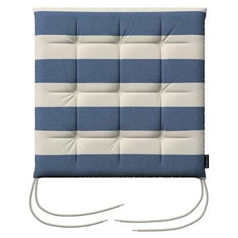 Siedzisko Karol na krzesło, niebiesko - białe pasy (5,5cm), 40 × 40 × 3,5 cm, Quadro