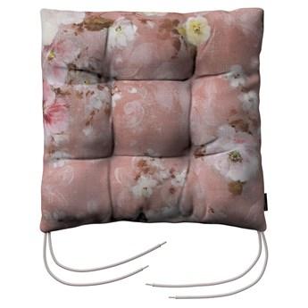 Siedzisko Jacek na krzesło, kremowe i różowe kwiaty na ciemno różowym tle, 38 × 38 × 8 cm, Flowers