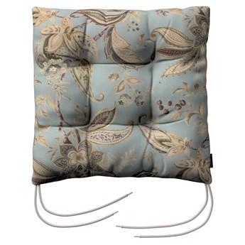 Siedzisko Jacek na krzesło, roślinne wzory na błękitno- szarym tle, 38 × 38 × 8 cm, Gardenia