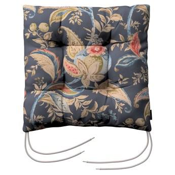 Siedzisko Jacek na krzesło, roślinne wzory na szaro - granatowym tle , 38 × 38 × 8 cm, Gardenia