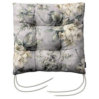 Siedzisko Jacek na krzesło, oliwkowo-beżowe kwiaty na szarym tle, 38 × 38 × 8 cm, Londres
