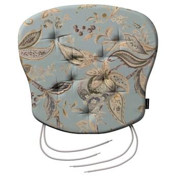 Siedzisko Filip na krzesło, roślinne wzory na błękitno- szarym tle, 41 × 38 × 3,5 cm, Gardenia