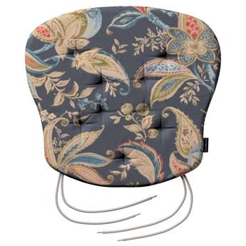 Siedzisko Filip na krzesło, roślinne wzory na szaro - granatowym tle , 41 × 38 × 3,5 cm, Gardenia