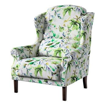 Fotel Unique, zielone gałązki na kremowym tle, 85 × 107 cm, Velvet