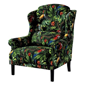 Fotel Unique, papugi i tukany na czarnym tle, 85 × 107 cm, Velvet