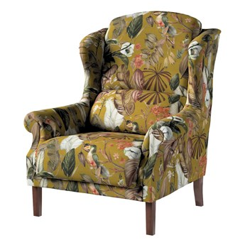 Fotel Unique, kwiaty na musztardowym tle, 85 × 107 cm, Abigail