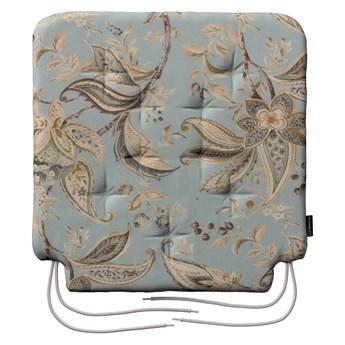 Siedzisko Olek na krzesło, roślinne wzory na błękitno- szarym tle, 42 × 41 × 3,5 cm, Gardenia