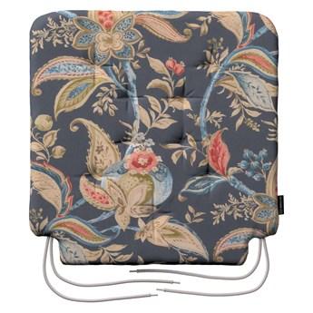 Siedzisko Olek na krzesło, roślinne wzory na szaro - granatowym tle , 42 × 41 × 3,5 cm, Gardenia