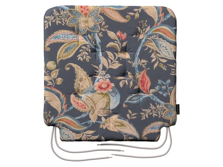 Siedzisko Olek na krzesło, roślinne wzory na szaro - granatowym tle, 42 × 41 × 3,5 cm, Gardenia