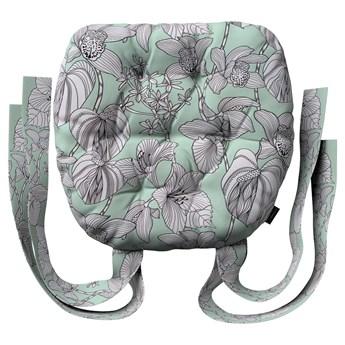 Siedzisko Marcin na krzesło, białe kwiaty na miętowym tle, 40 × 37 × 8 cm, do -50%